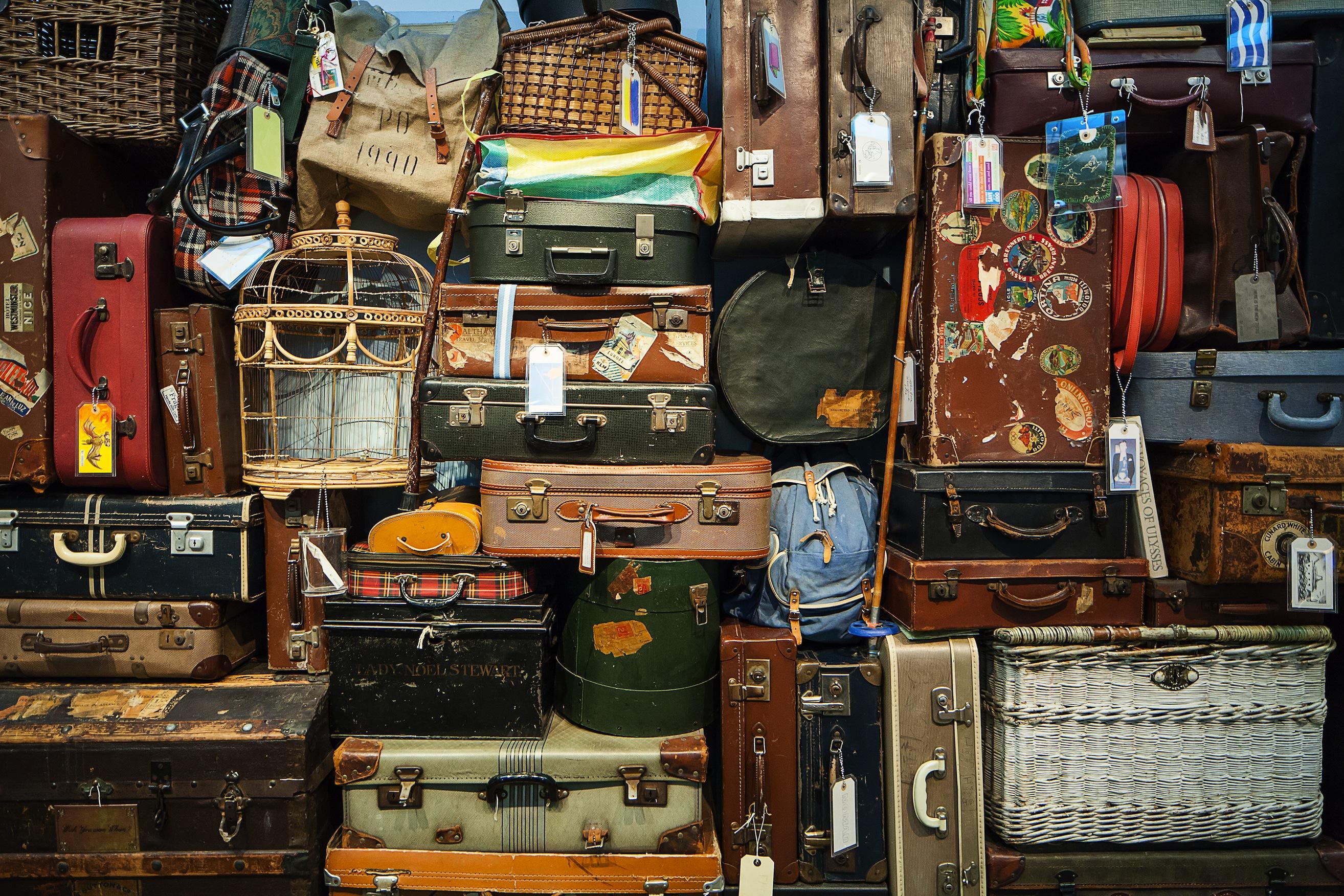 Stacks of luggage.